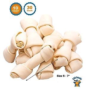 123 Treats – Dog Rawhide Chews Bones for Medium to Large Dogs 6-7″ (10 Count) 100% Natural Premium Bulk Treats