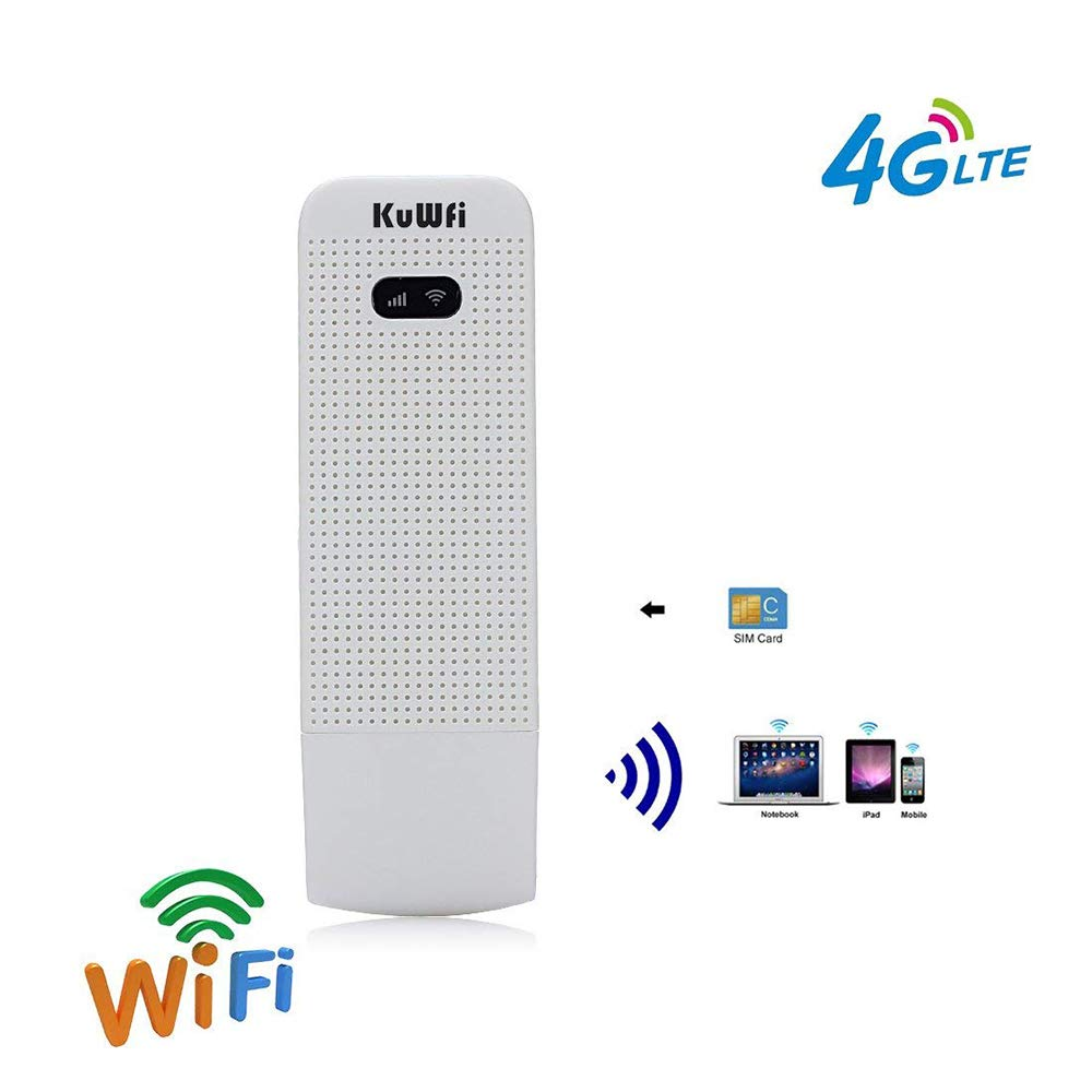 4G USB WiFi Dongle Modem Portable LTE Mobile Hotspot Wireless Mini Router  with SIM Card Slot Support 3G/4G Netowork for Car or Bus (Not Including SIM