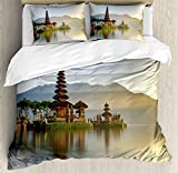 Balinese Decor Duvet Cover Set by Ambesonne, Pura Ulun Danu Temple Panorama at Sunrise on A Lake Bratan Bali Indonesia Waterscape, 3 Piece Bedding Set with Pillow Shams, Queen / Full, Brown Beige