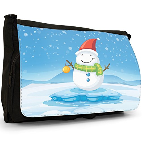 In With Snow Laptop Shoulder Baubles Large Christmas School Messenger Snowman Canvas Bag Happy Time Joyful Black RnF6UwEx44