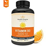 Vitamin D3 5000 IU - Pure Vitamin D Softgels for Bone Health, Immune Support and Healthy Muscle Function in Extra Virgin Olive Oil - Non GMO & Gluten Free Supplement - Made in USA - 360 Softgels