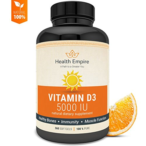 Vitamin D3 5000 iu Softgels - Pure D3 Softgels for Bone Health, Immune Support and Healthy Muscle Function in Extra Virgin Olive Oil - Non GMO & Gluten Free Supplement - Made in USA - 360 Softgels