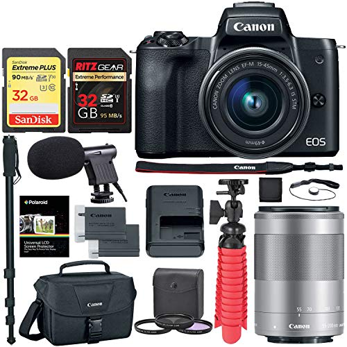 Canon EOS M50 Mirrorless Camera (Black) with 15-45mm and 55-200mm Lenses, Memory Cards, Camera Bag, Tripod Bundle