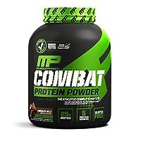 MusclePharm Combat Protein Powder, Essential Whey Protein Powder, Isolate Whey Protein, caseína y proteína de huevo con BCAA y glutamina para la recuperación, chocolate con leche, 4 libras, 52 porciones