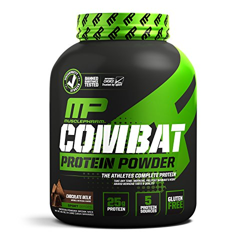 MusclePharm Combat Protein Powder, Essential Whey Protein Powder, Isolate Whey Protein, Casein and Egg Protein with BCAAs and Glutamine for Recovery, Chocolate Milk, 4-Pound, 52 - Egg Optimum Protein 100%