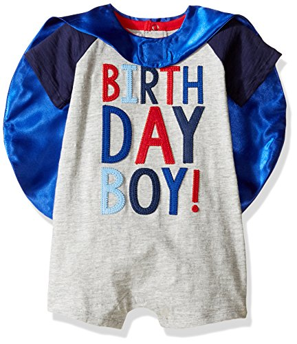 Mud Pie Baby Boys' Birthday Cape One Piece Raglan Slub, Multi, 12-18 Months