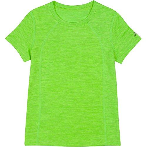 Youth Lime Green T-shirts (New Balance Big Girls' Short Sleeve Performance Tees, Lime Glo/Jade, 14)