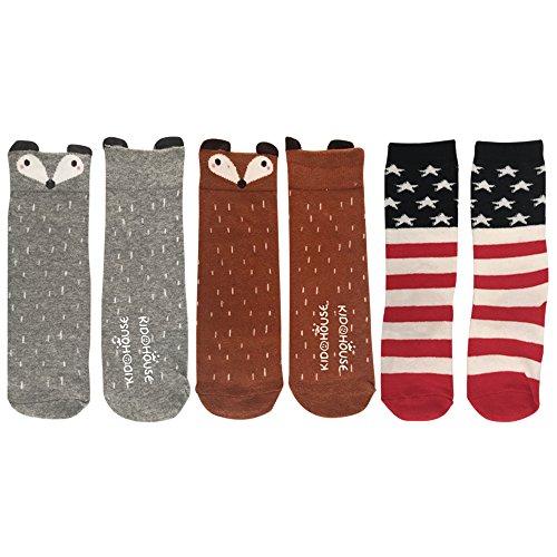 3 Packs Set JHM Unisex Baby Girls Boys Knee High Socks Stockings Cartoon Animal Non Slip Socks anti-skidding Long Socks (0-2 Years, 3-pack Set #1)