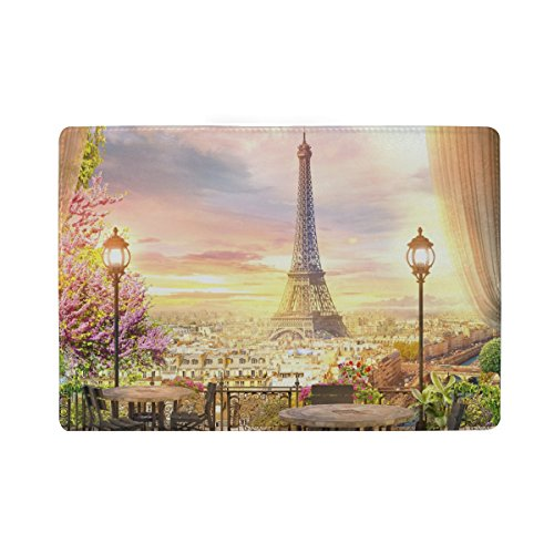 Price comparison product image Beautiful Paris Balcony View Travel Passport Holder Cover Leather Wallet Case