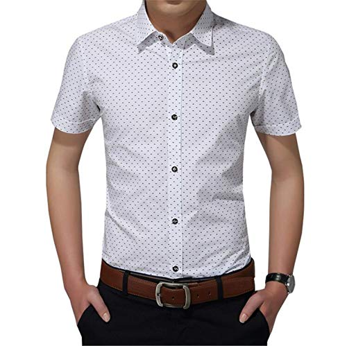 New Cotton Men Social Shirt Mens Short Sleeve Shirts Man Polka Dot 5XL White 4XL (Leather Dot Portfolio Polka)