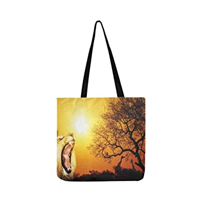 31e787a74064c Amazon.com: African Lion Roaring Sunset Silhouette Savanna Canvas ...