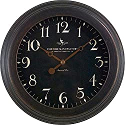 FirsTime 25631 Onyx Wall Clock, Black