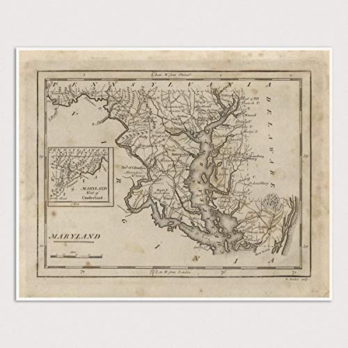 Old Maryland Map Art Print, 1816, Archival Reproduction, Unframed
