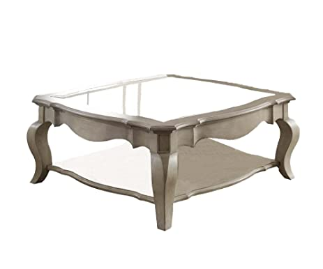 ACME Furniture 86050 Chelmsford Coffee Table, Antique Taupe/Clear Glass