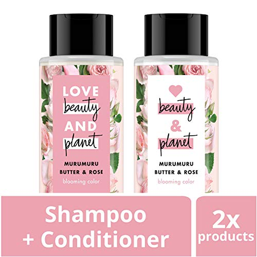 Love Beauty And Planet Blooming Color Shampoo and Conditioner, Murumuru Butter, Sugar & Rose, 13.5 oz, 2 ()