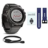 Cheap WhoIsCamera Garmin Fenix 5 Sapphire Slate Gray w/Metal Band & Dark Blue Band Starter Bundle