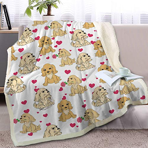 BlessLiving Cute Cartoon Pet Fleece Blanket Brown American Cocker Spaniel and Red Heart Pattern Animal Print Plush Blanket (Throw, 50 x 60 Inches)