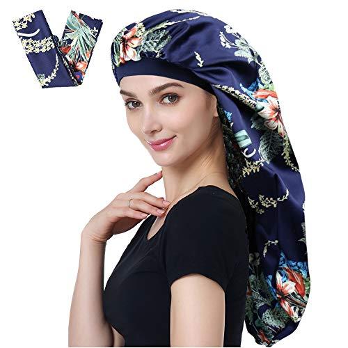 Alnorm XL Satin Sleep Cap Double Layer Silk Satin Bonnet