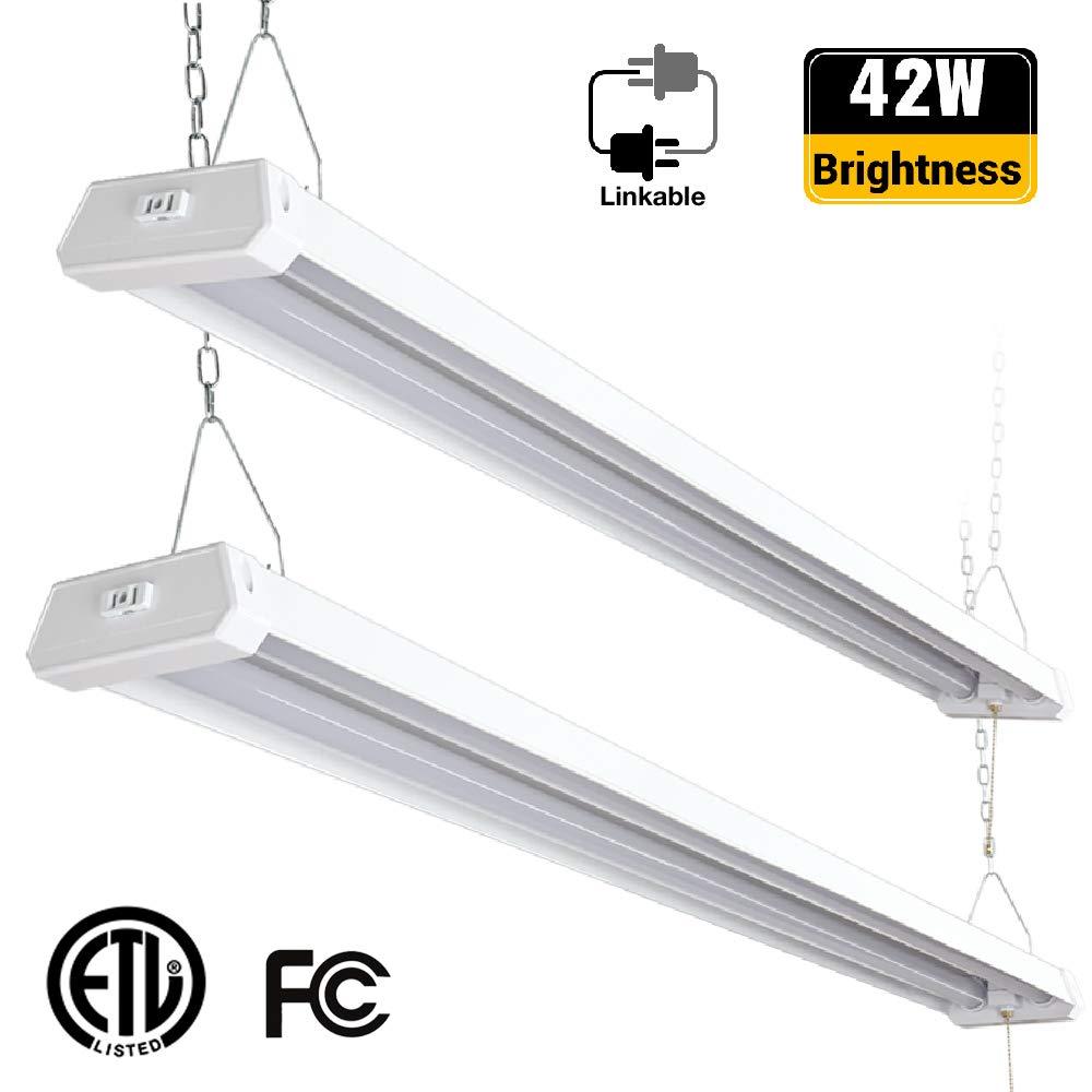 Brizled Linkable LED Shop Lights, 4ft 42W ETL Certified Shop Lights, 4200 Lumens Double Integrated LED Garage Lights Fixture, 5000K Daylight Work Light for Ceiling, Workshop, Basement, Frosted, 2 Pack