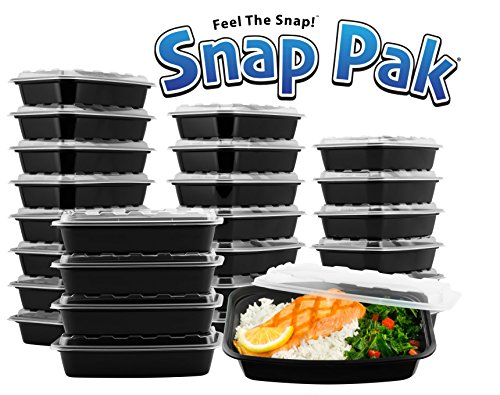 0 Piece Pak (25 bases, 25 lids) Food Storage Containers, 38 oz., Microwavable, Freezer and Dishwasher Safe! 100% BPA Free Perfect For Food Prep! (Leftovers Containers)