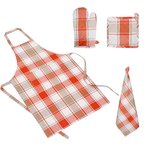 MAXICAN 100% COTTON YARN DYED CHECK DESIGN WITH WASHED KITCHEN CO-ORDINATION COMBO SET - SET CONTAINS WITH SIZE : APRON - 22