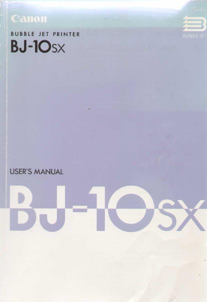 CANON BUBBLE JET BJ-10SX DRIVER WINDOWS XP
