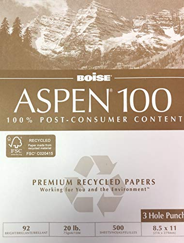 - Aspen 100% Recycled Paper, 92 Bright, 500 Sheets/Ream, 8 1/2