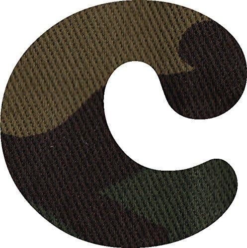 迷彩柄 生地 アルファベット c アップリケ アイロン接着可能 小文字 coop