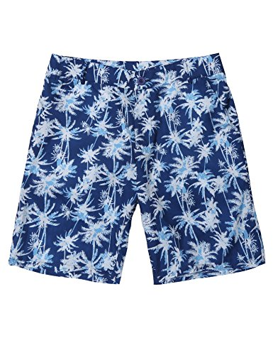 Slim Fit Walkshort - COOFANDY Men Hawaiian Casual Coconut Pattern Flat Front Beachwear Shorts with Pocktes, Blue, Medium