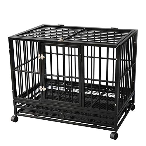 (TONYRENA 42 inch Heavy Duty Strong Folding Metal Dog Crate Kennel Playpen for Large Dogs and Pets with Patent Lock and Lockable Wheels&Tray)