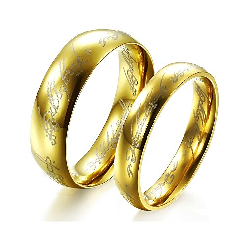 Noemigal Arce Gold Plated Titanium Steel Lord of The Rings Laser-Etched Wedding Couple Ring for Men Women(men10) ()