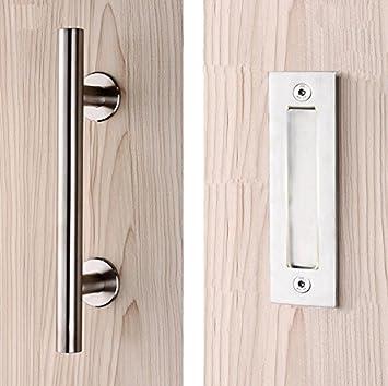 PENSON & -CO. Tirador y descarga para puerta de barniz, juego de manillar de puerta corredera plateada con tornillos de montaje incluidos.: Amazon.es: Bricolaje y herramientas
