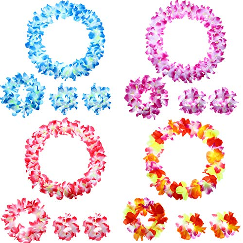 (4 Sets Hawaiian Flower Leis Jumbo Necklace Bracelet Headband Set Tropical Luau Party Flower Decorations for Party Costume Accessories)