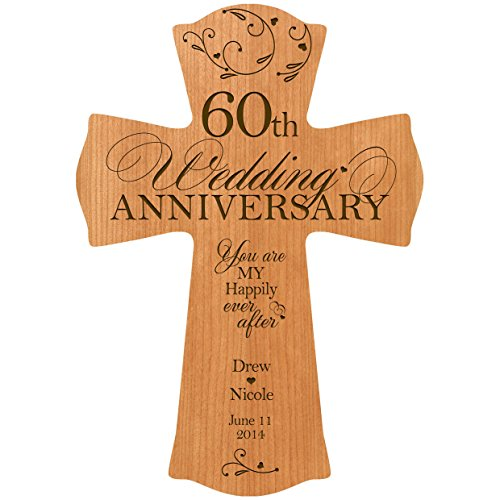LifeSong Milestones Personalized 60th Wedding Anniversary Wood Wall Cross Gift for Couple 60 Year You are My Happily Ever After (8.5