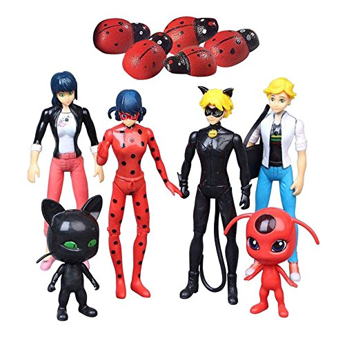 Miraculous Ladybug 6 PCS Action Figure Tikki Noir Cat Plagg Adrien Toys Gifts (Ladybug Cat Toy)
