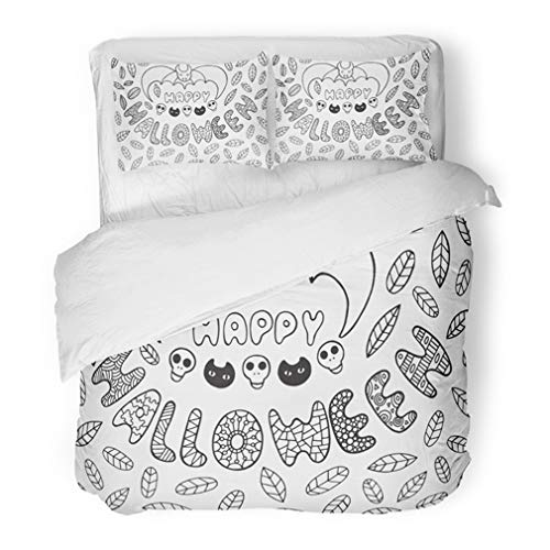 Emvency Bedding Duvet Cover Set Full/Queen (1 Duvet Cover + 2 Pillowcase) Halloween with Bat Skulls Cats Leaves and Words Lettering Coloring Page Hotel Quality Wrinkle and Stain -