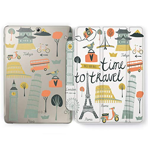 Wonder Wild Time to Travel Samsung Galaxy Tab S4 S2 S3 A E Smart Stand Case 2015 2016 2017 2018 Tablet Cover 8 9.6 9.7 10 10.1 10.5 Inch Clear Design London Paris Tokyo Rome Scooter Bicycle Tourism -