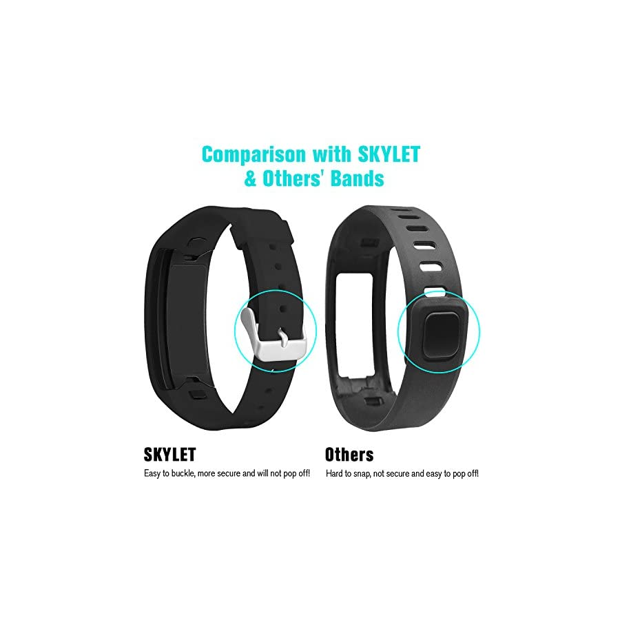 SKYLET for Garmin Vivofit Bands, Colorful Silicone Replacement Band for Garmin Vivofit 1 Wristband with Metal Buckle (No Tracker)