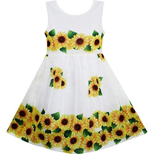 Sunny Fashion Little Girls' Toddler Dress Sunflower Green Leaves Sleeveless, Yellow, - Sunny Deals