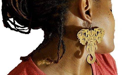 BUNFIREs Black, Brown Light Brown Wood Earrings Natural Hair Light Weight Wood Woman Earrings African Elephant Wooden Shape Jewelry (Light Brown)