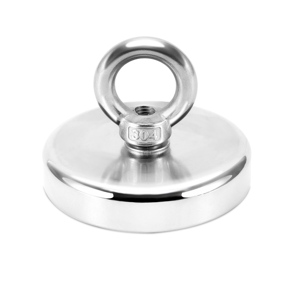 375 lbs Pulling Force,Super Strong Neodymium Fishing Magnets with countersunk Hole Eyebolt Diameter 2.95 inch(75mm) for Magnetic Fishing and Retrieving in River