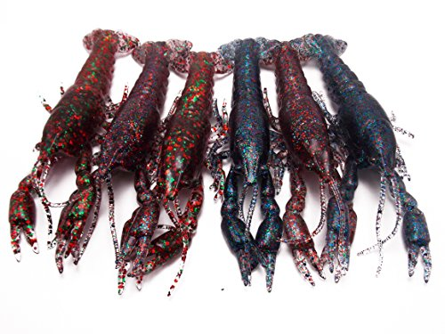 CATCHSIF 6pcs Ultra ture Life Craw 3D Crayfish Solid Soft baits 4.7inch 0.65oz