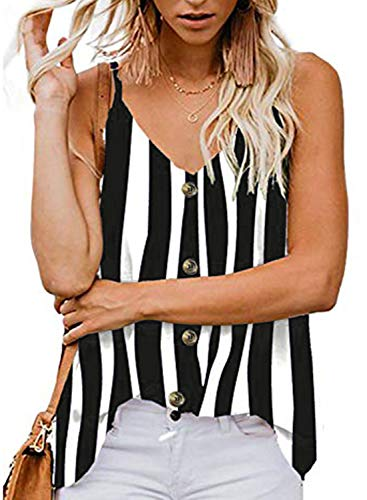 Striped V-neck Shorts - jonivey Women's V-Neck Spaghetti Basic Tie Striped Camisoles Sexy Tank Top (Striped Black,XXL)