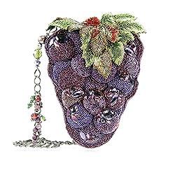 3DBeaded Leaves Grapes Shoulder Bag