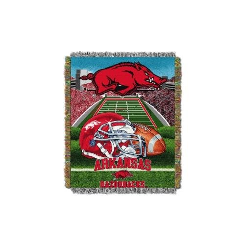"The Northwest Company Officially Licensed NCAA Arkansas Razorbacks Home Field Advantage Woven Tapestry Throw Blanket, 48"" x 60"""