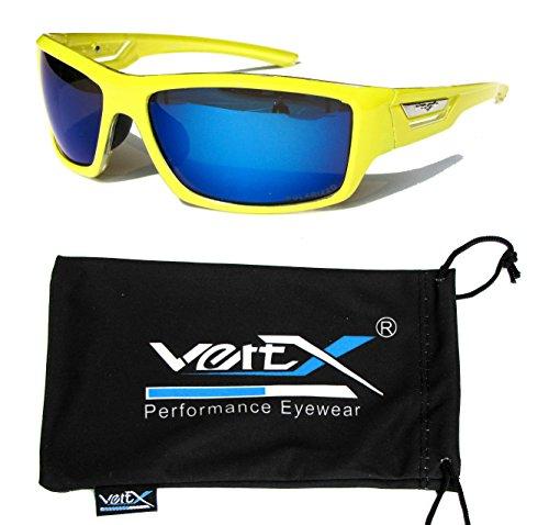 VertX Men's Polarized Sunglasses Sport Cycling Running Outdoor – Neon Yellow Frame – Blue - Frame Sunglasses Yellow