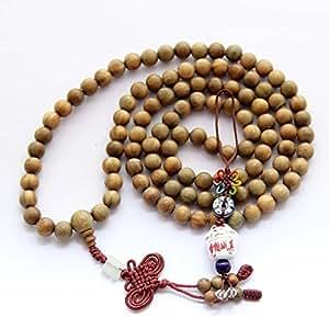 8mm Buddhist 108 Green Sandalwood Beads Prayer Wrist Meditation Mala with Free Fortune Cat Pendant
