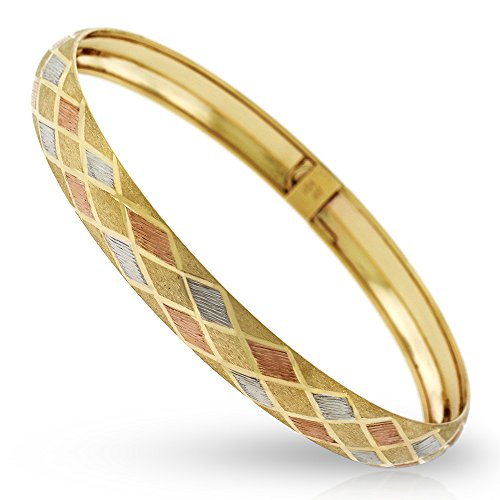 10k Yellow Gold Womens Tri Color Fancy Diamond Cut Brush Bangle Bracelet 7'' by In Style Designz