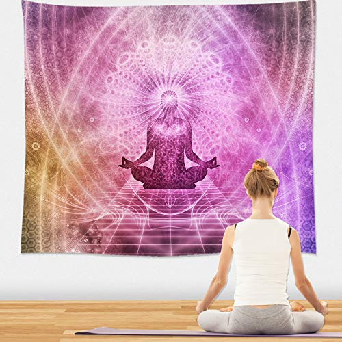 Chakra Tapestry Wall Hanging - Psychedelic Indian Yoga Tapestry, Chakra Artwork for Yoga Room, Home, Dorm Decor 51x59 Inches (Zen) -