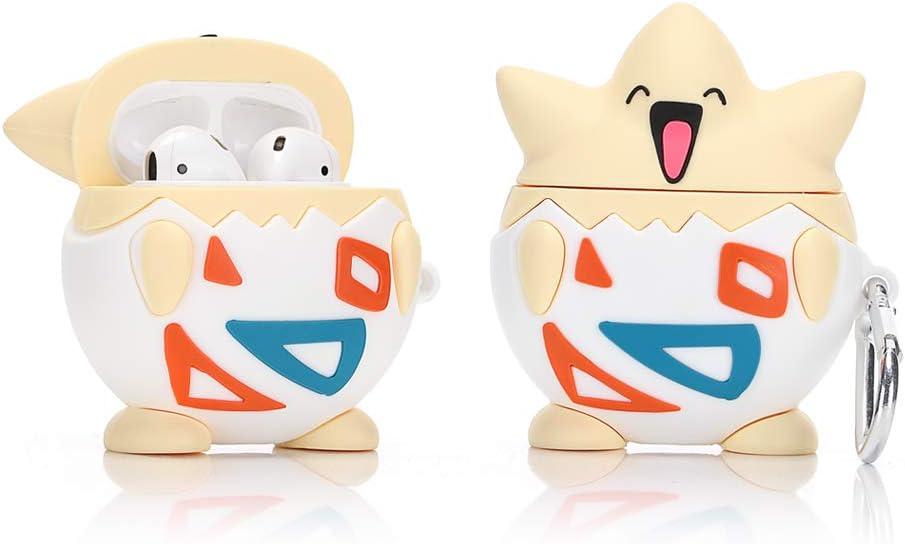 LEWOTE Funda de Silicona Compatible con Apple Airpods 1 y 2 Funny Cover [Diseño de Dibujos Animados 3D] Niños y Niñas (Togepi)